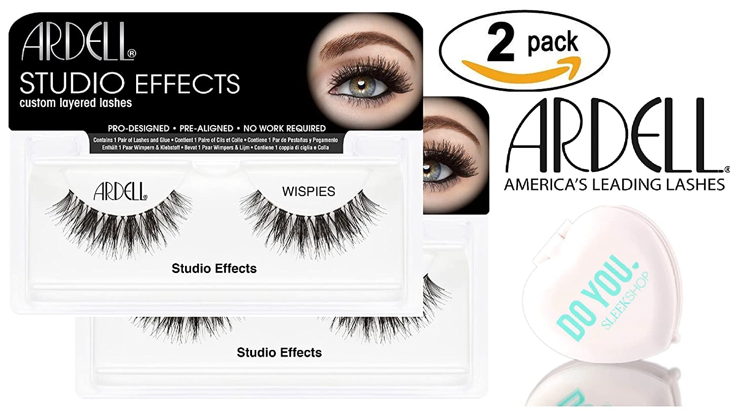 1cd08a306a1 Amazon.com : Ardell Professional STUDIO EFFECTS Custom Layered Lashes,  2-pack (with Sleek Compact Mirror) (Wispies (2-pack)) : Beauty
