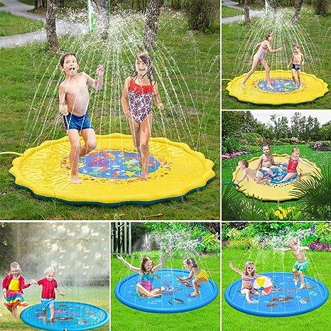 100cm Estera de Juego de Spray de Agua para Niños Juguetes Inflables al Aire Libre del Cojín de la Regadera del Agua para Bebés Pequeños: Amazon.es: Bebé