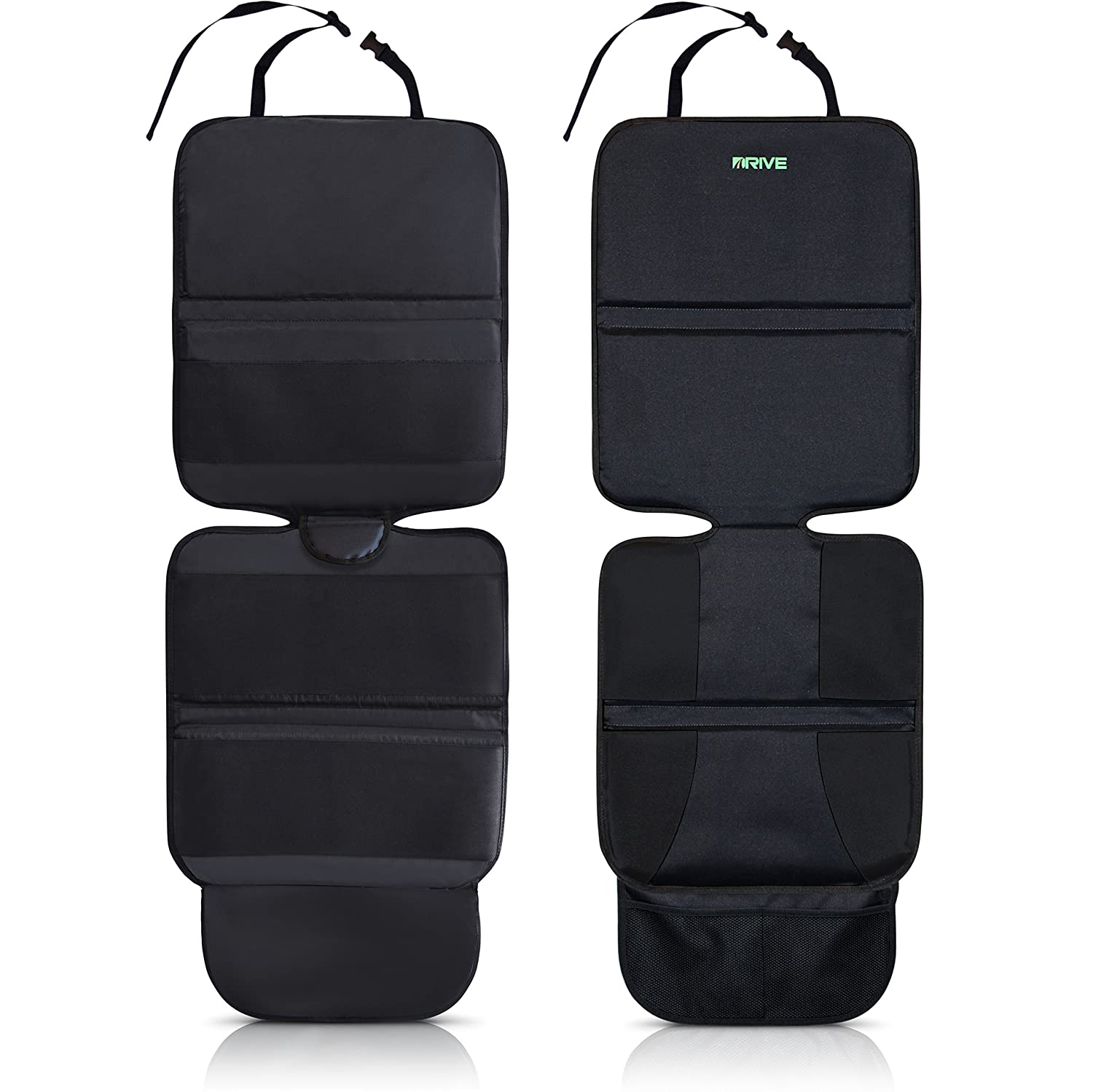 Drive Auto Products Car Seat Protector (2-Pack), Black - Ultimate Neoprene Backing is Best Protection for Child & Baby Cars Seats, Dog Mat - Cover Pad Protects Automotive Vehicle Upholstery Car Seat Protector 2P Black