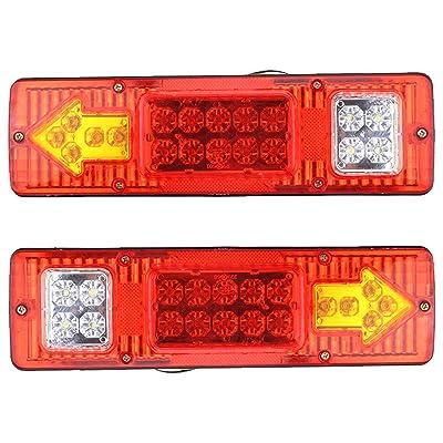 [ALL STAR TRUCK PARTS] 19 LED Red Amber White Integrated Trailer Tail Lights Bar 12V Turn Signal Running Lamp for Trailer UTV UTE RV ATV Box Truck Left and Right (2 Pack): Automotive