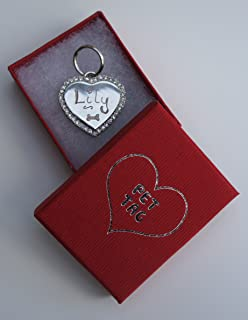 8274761d3c6 DIAMANTE DOG TAG SILVER HEART HAND ENGRAVED WITH GIFT BOX APPROX 30MM…