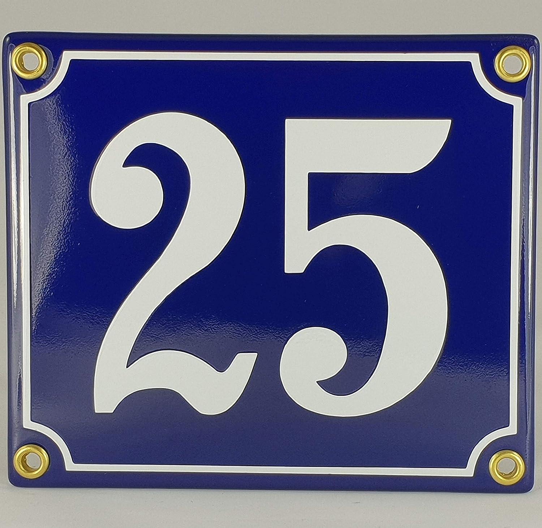Emaille Schild Hausnummer 31 Blau-Wei/ßHandarbeit
