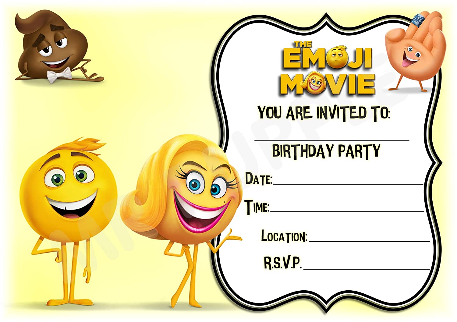 The Emoji Movie Birthday Party Invites