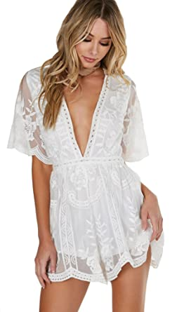 e30fde5b6374 Honey Punch Antique Embroidered Crochet Deep V Neck Romper White Lace