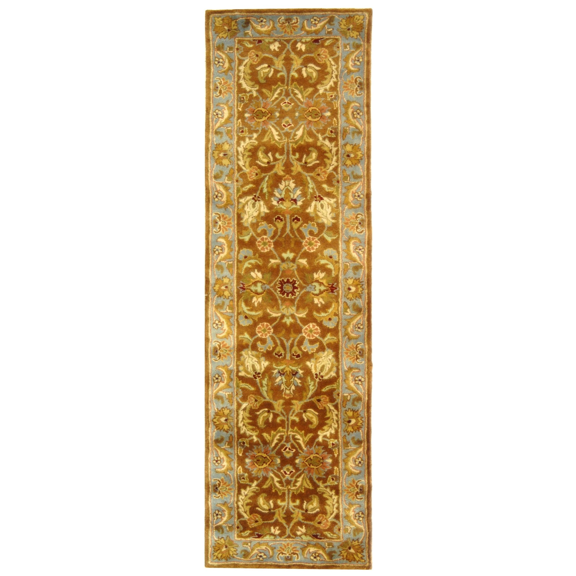 Safavieh Heritage Collection HG812A Handcrafted Traditional Oriental Brown and Blue Wool Runner (2'3'' x 18')