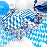 Oktoberfest 65 Piece Bavarian Party Set - Blue and white diamond pattern - October fest