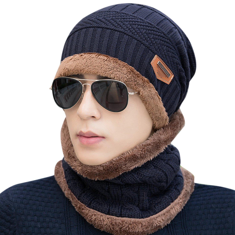 West See Herren Winter Warm Hut Beanie Mütze Gefüttert Strickmütze und Schal mit Fleecefutter