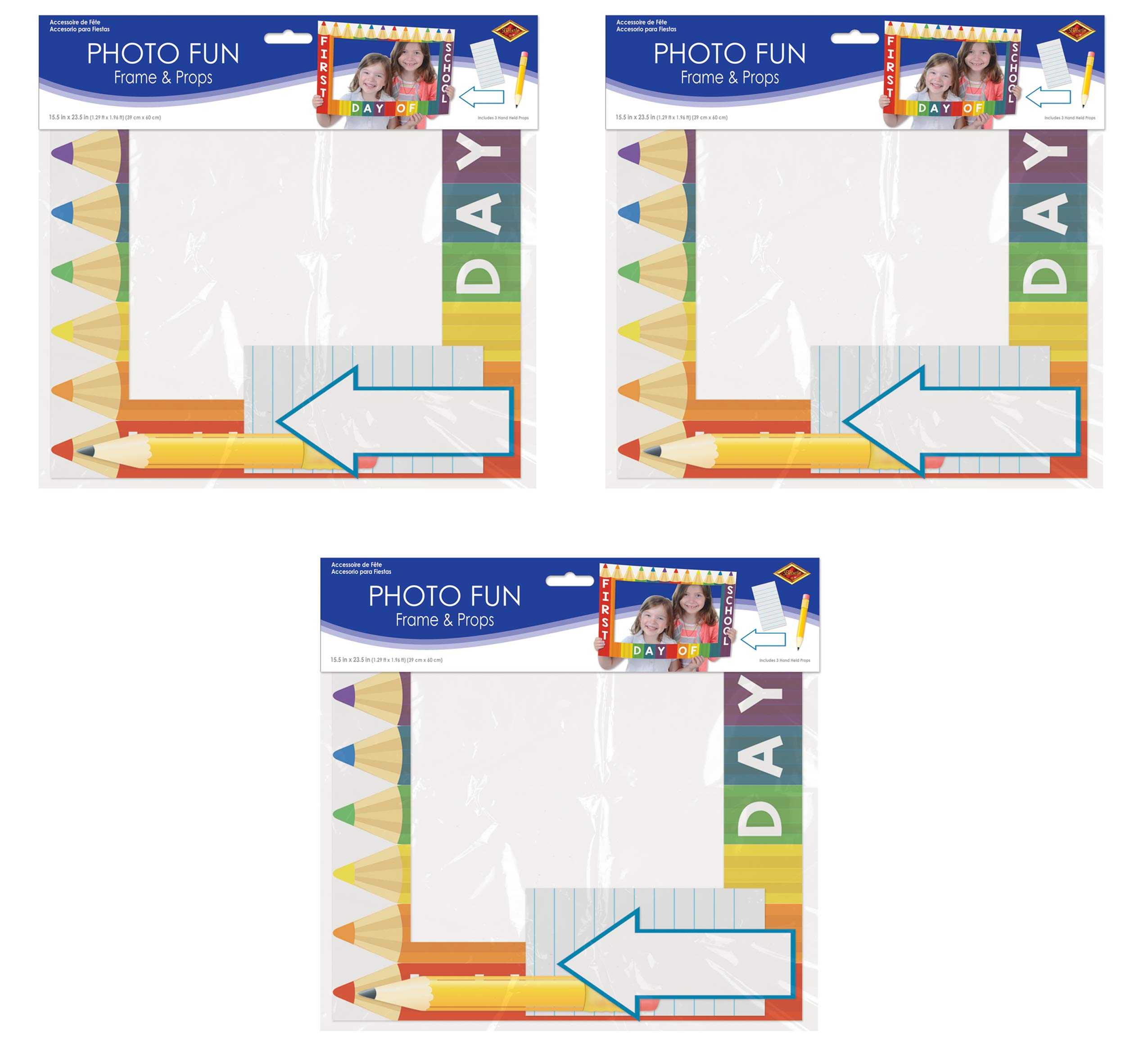 Beistle 54879 School Days Photo Fun Frames 3 Piece, 15.5'' x 23.5'', Multicolored