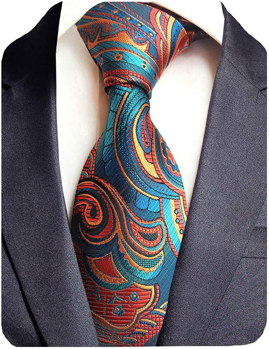 GUSLESON Fashion Striped Paisley Ties Mens Plaid Necktie for Wedding