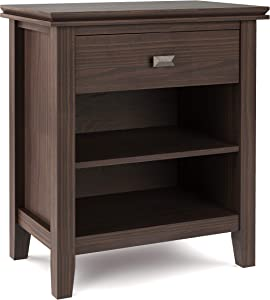 SIMPLIHOME Artisan SOLID WOOD 24 inch Wide Contemporary Bedside Nightstand Table in Warm Walnut Brown