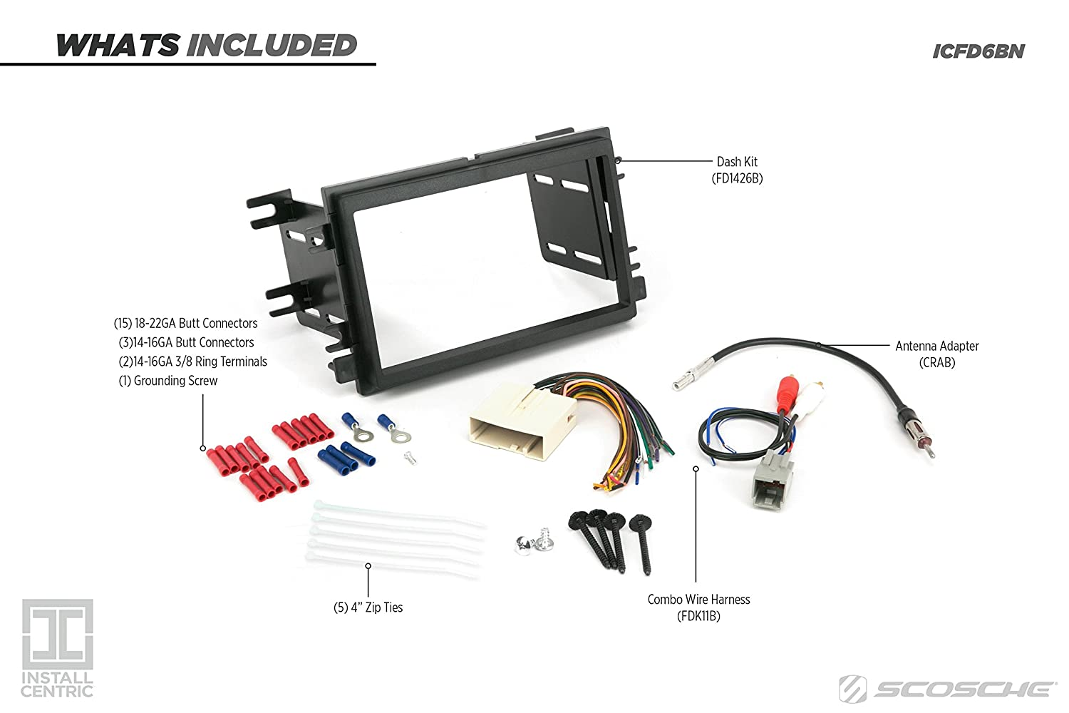 Scosche Fd1426b Double Din Installation Kit For 2004 Up Wiring Harness Diagram 2006 Ford Mustang Vehicles Car Electronics