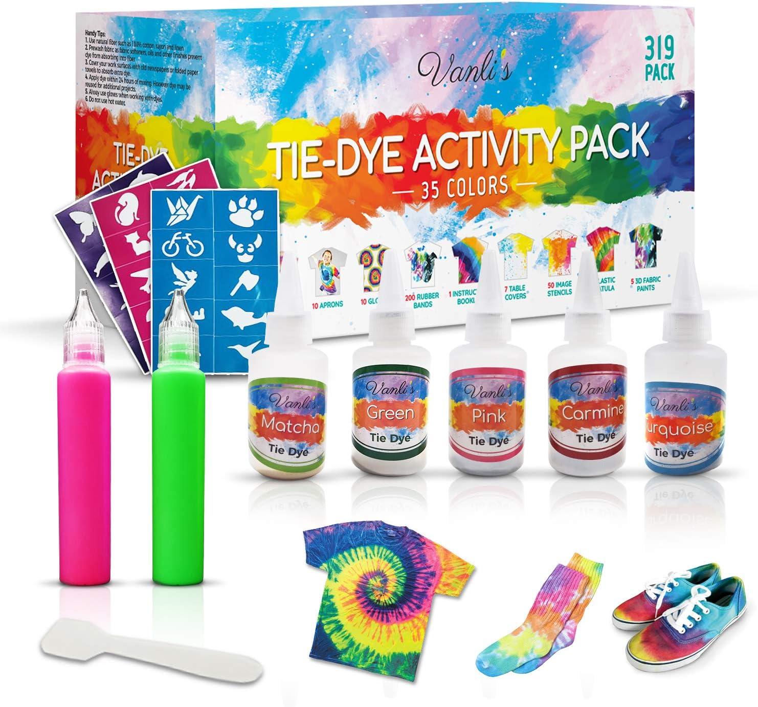 adultos no se decolora delantales MUSCCCM Tie Dye Kit de 18 colores textiles para ni/ños bolsas selladas para manualidades con cintas de goma manteles y otros lavable a m/áquina