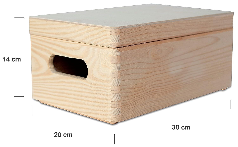 Creative Deco Grande Caja Madera para Decorar con Tapa | 30 x 20 x 14 cm | Asas | Cofre Decoracion Almacenaje Herramiente Fruta Decoupage Documentos Objetos ...