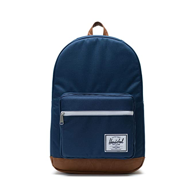 Herschel Pop Quiz Backpack, Navy/Tan Synthetic Leather