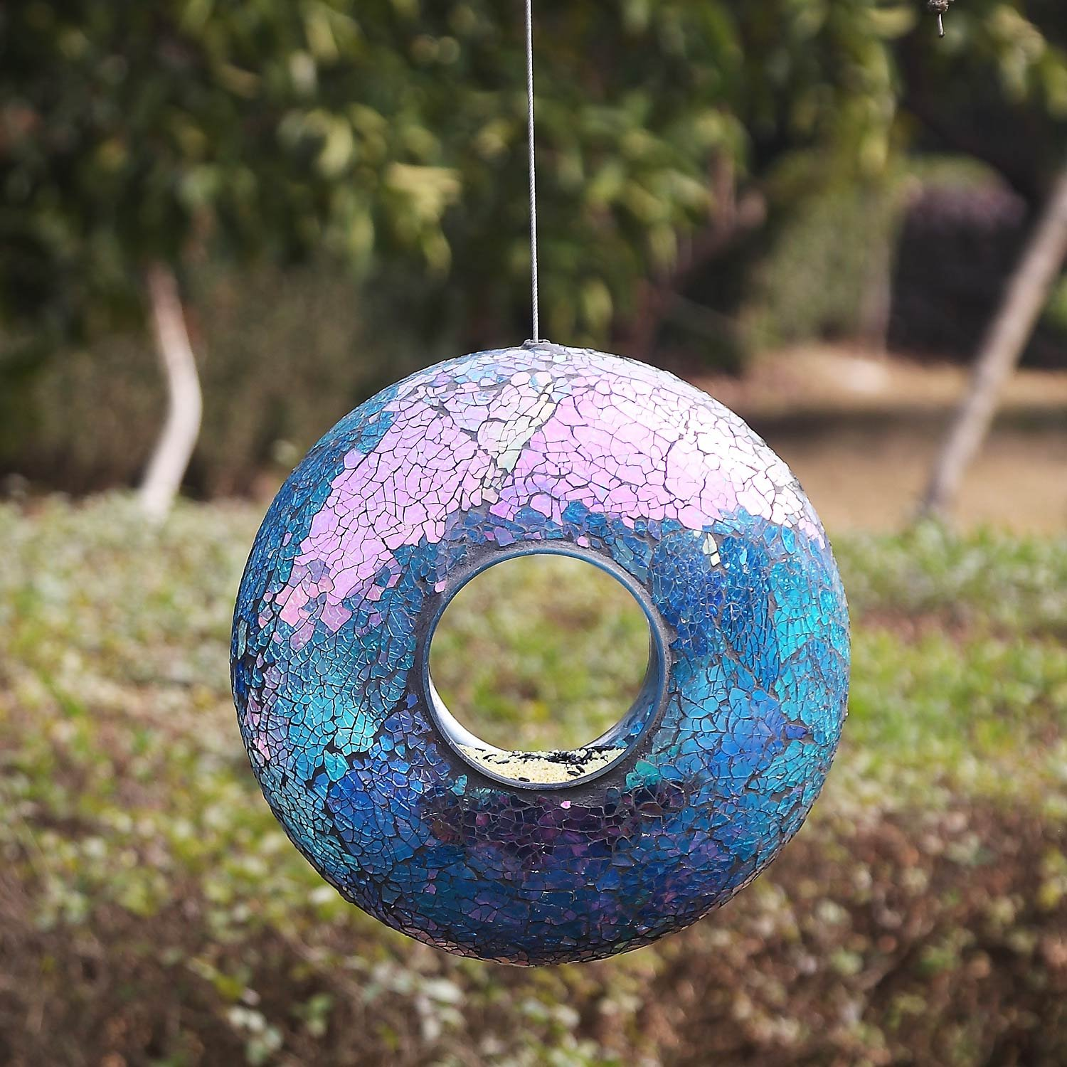 A Ting Garden Hanging Bird Feeder Mosaic Circle for Outdoor Decoration,Blue by A Ting