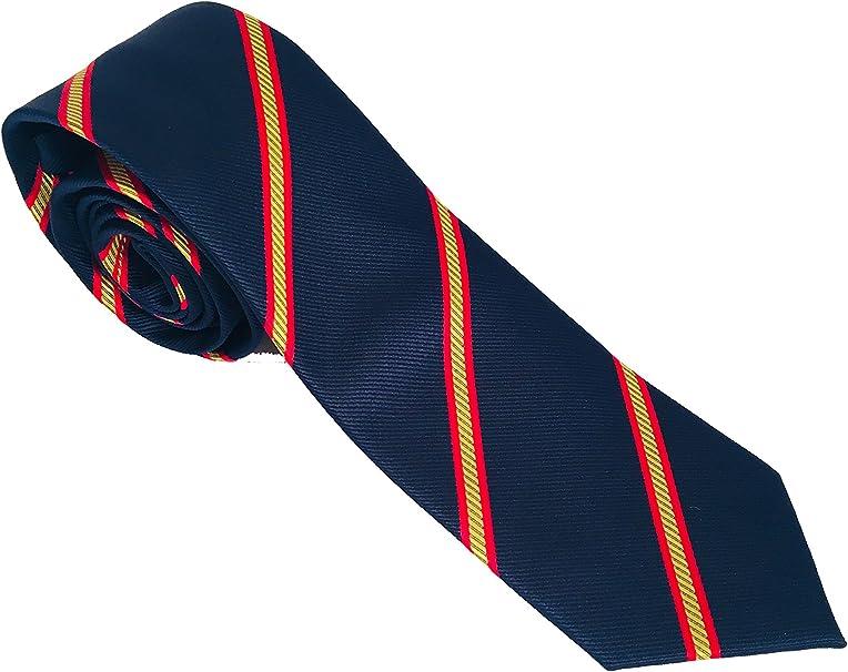 PB Pietro Baldini Corbata de hombre azul bandera española - Corbata azul con bandera españa - Corbata azul con bandera española - Corbatas de hombre calidad alta - Corbata estrecha (azul listados):