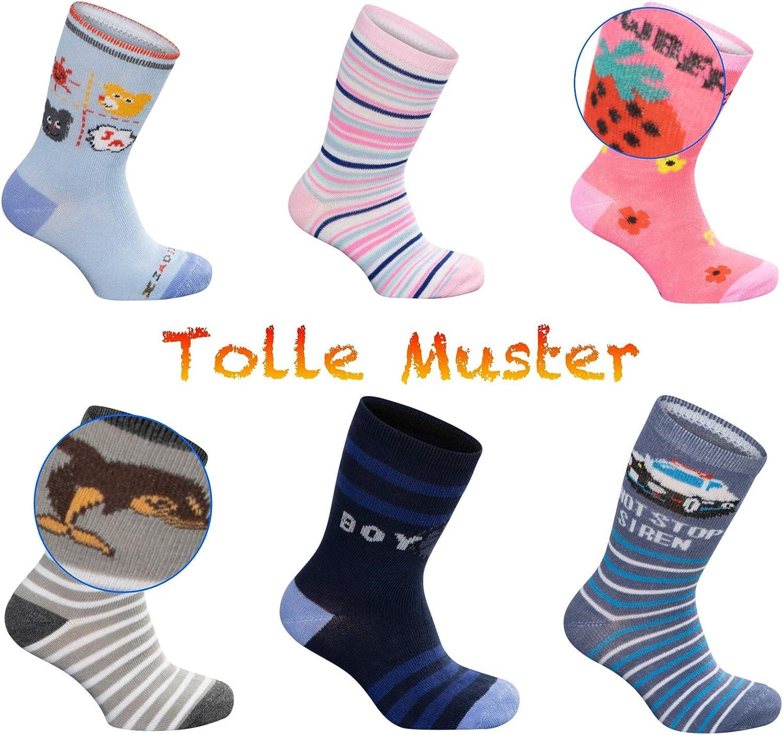 SG-WEAR 12 paia di calzini per bambini per ragazzi e ragazze con alta percentuale di cotone calzini per bambini in diversi motivi//calze in taglia 23 31 30 26 34 35 38 27