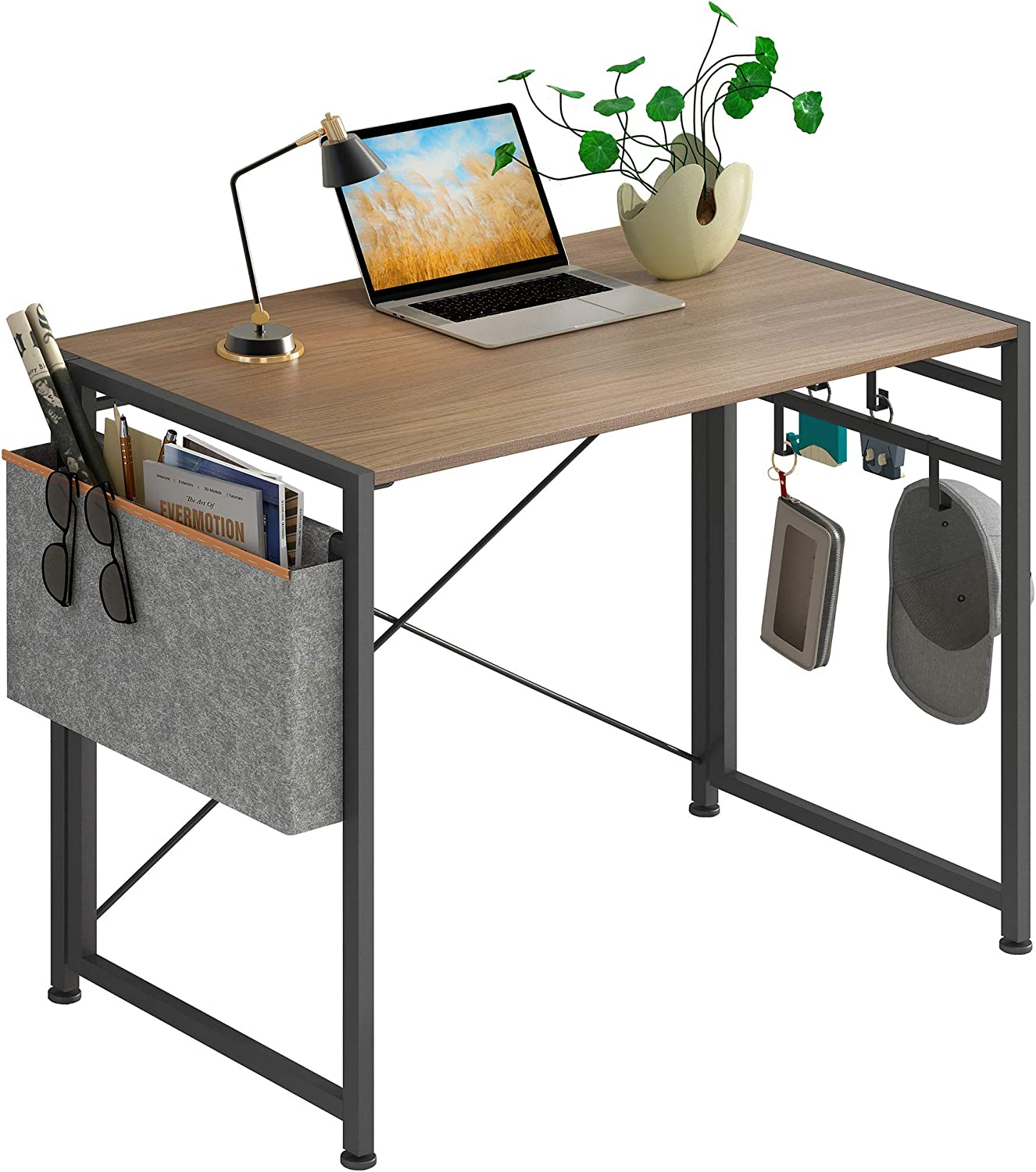 "JSB Folding Computer Desk with Cloth Bag Hook, No-Assembly PC Desk Modern Small Work Table Laptop Writing Desk for Home Office (35.43"" x 17.7"" x 29.53"", Brown & Cloth Bag)"