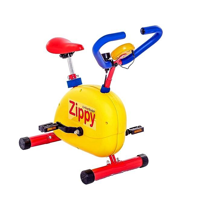 Nueva bicicleta Zippy divertida y fija para niños para casa. Equipo llamativo y colorido tipo gimnasio de la gama GymJunior para jugar de forma activa.