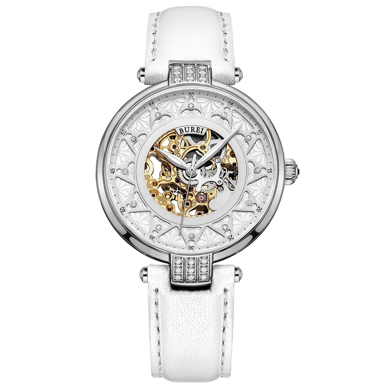 Burei Damen Automatik Uhr mit Silber Gold Saphir Objektiv und Echte weiß Leder Band