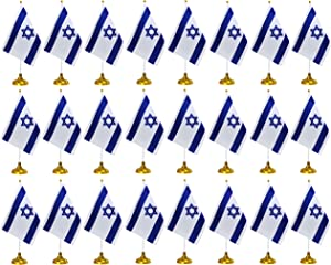24 Pieces Israel Desk Flags with Stands Base,Small Mini Deluxe Israeli Table Flags Set,8 x 5.5 inches Miniature Desktop Flags,Home Desk Decoration,Table Decorations,Festival Events Celebration