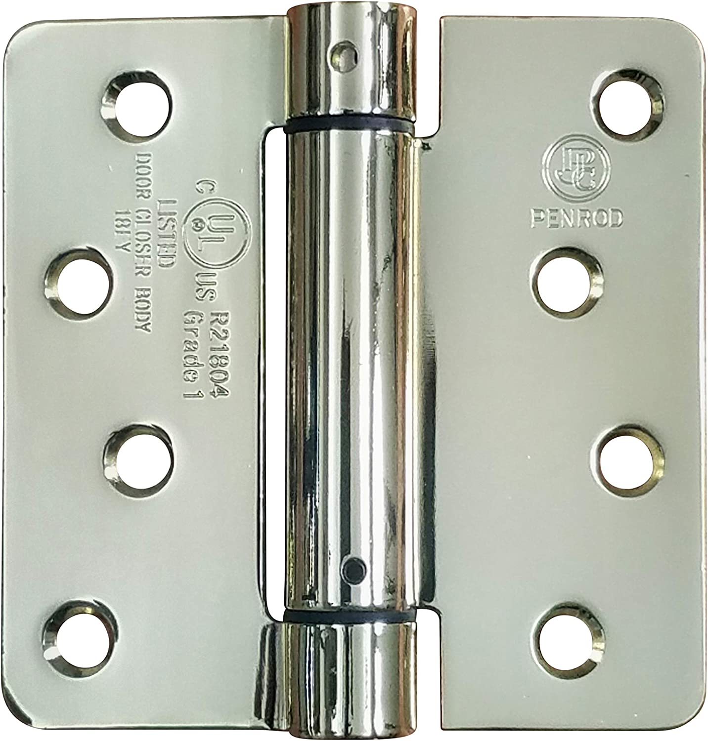 "Bright Brass Spring Loaded Hinges 2 Pack 4/"" with 5//8/"" Square Self Closing"