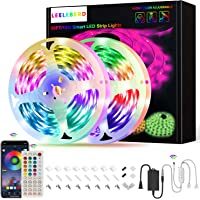 50Ft LED Strip Lights, Leeleberd Music Sync Color Changing Bluetooth LED Light Strips, App Control+Remote+4 Button…