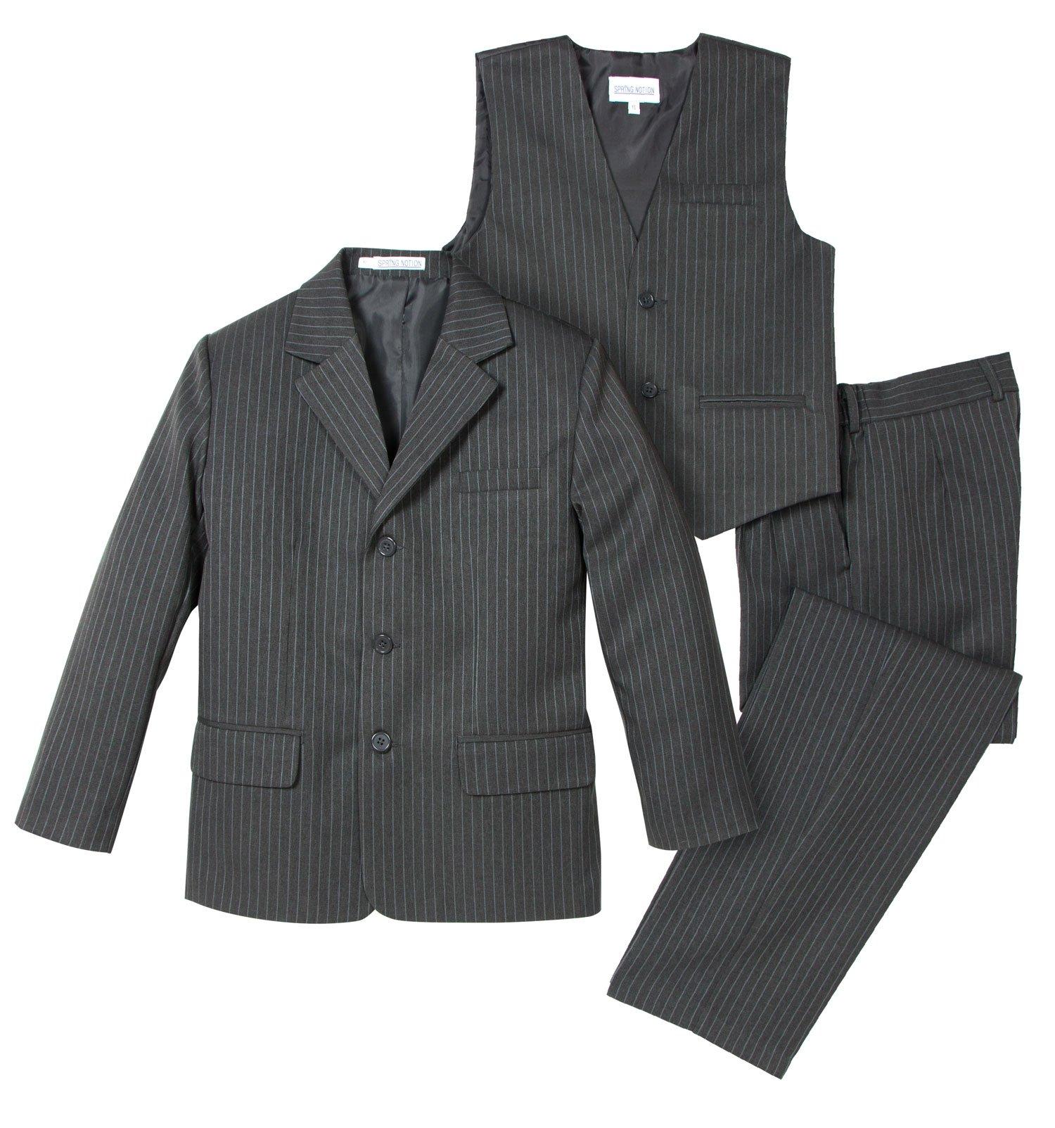 Spring Notion Big Boys' 3 Piece Pinstripe Suit Set 14 Medium Grey