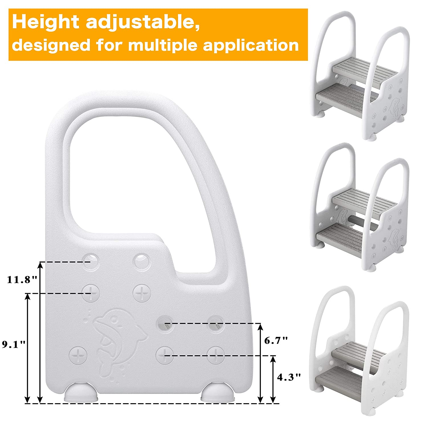Height Adjustable Two Step Standing Stool with Handles Non-Slip Safety for Toddlers Children Kids Potty Training Kitchen Helper Learning Tower, Mangohood : Baby