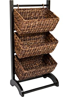 Bon BirdRock Home 3 Tier Abaca Storage Cubby (Brown) | Made Of Extremely Durable