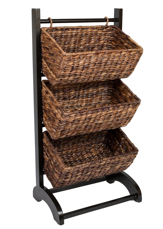 amazon com birdrock home 3 tier abaca storage cubby brown made rh amazon com
