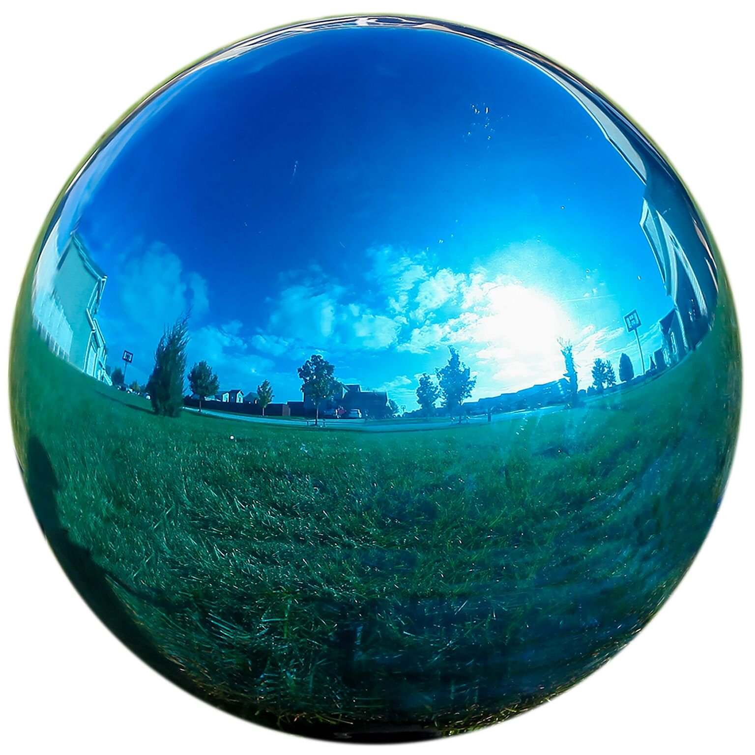 Lily's Home Glass Gazing Mirror Ball, Colorful and Shiny Addition to Any Garden or Home, Ideal As a Housewarming Gift, Sparkling Blue (12 Inches Diameter)