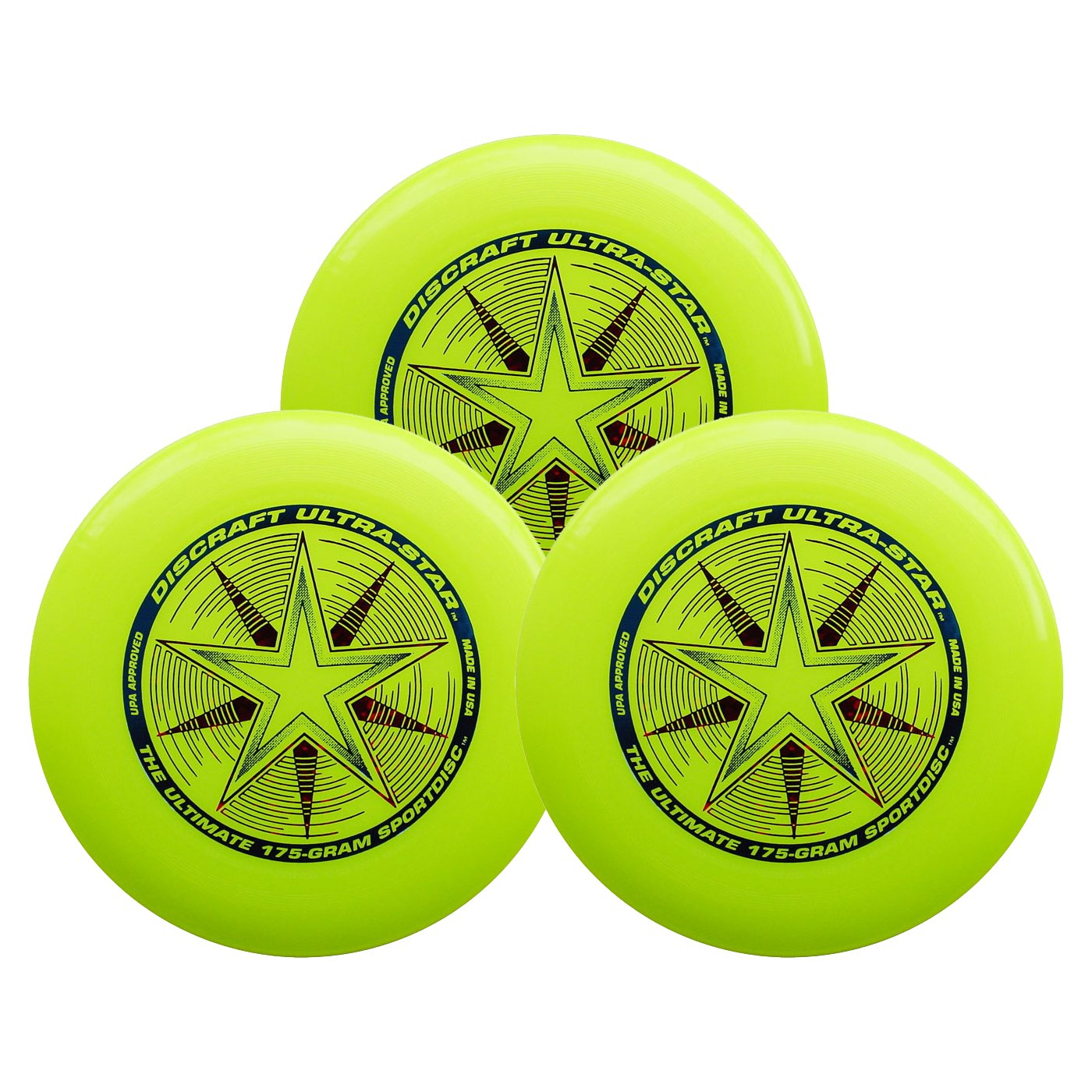 Discraft Ultra-Star 175g Ultimate Sportdisc Yellow (3 Pack) by Discraft