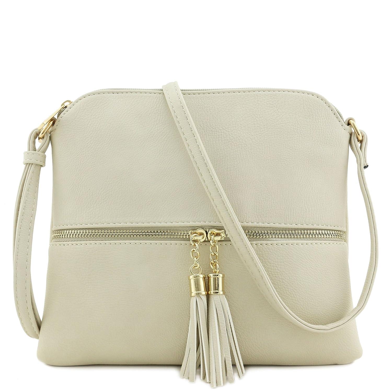 6da68e64eee1 Lightweight Medium Crossbody Bag with Tassel (Beige)  Handbags  Amazon.com
