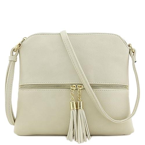 37f67cc6d853 Lightweight Medium Crossbody Bag with Tassel (Beige): Handbags ...