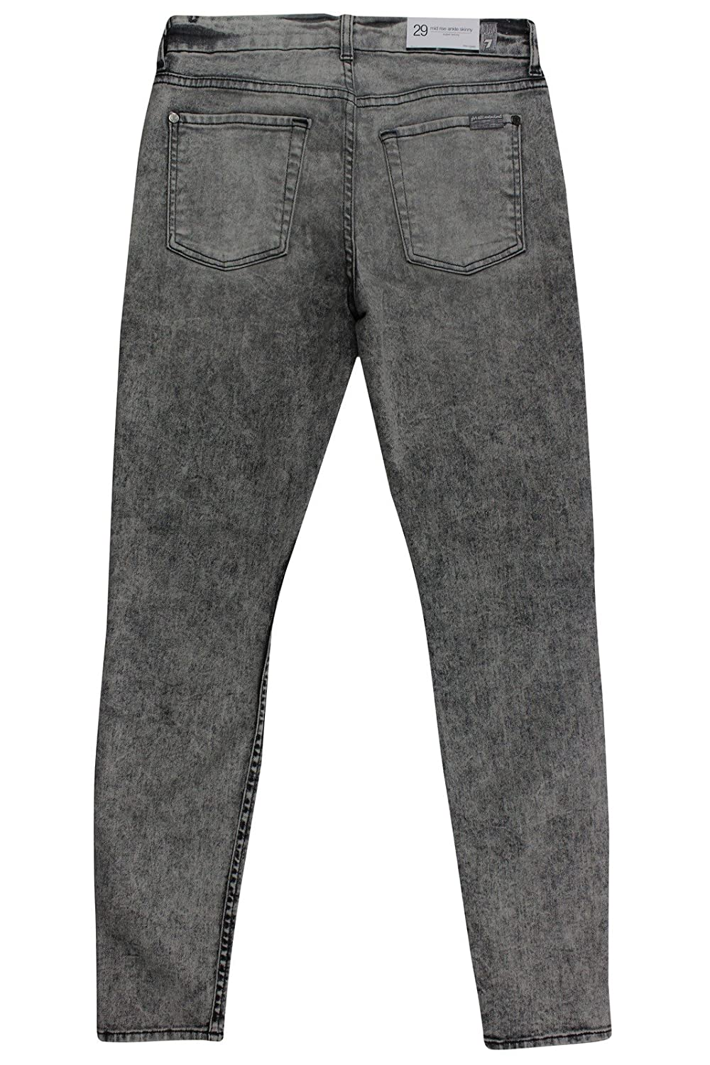 7 for all mankind Women's Grey Faded Mid Rise Ankle Super Skinny Jeans