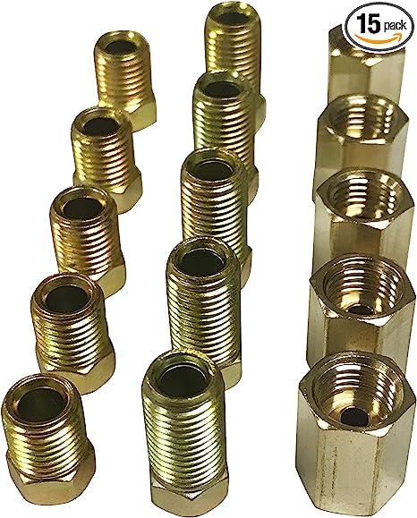 All 7//16-24 threads Pack of 3 3-Way Female Brake Line Tee for 1//4 tube