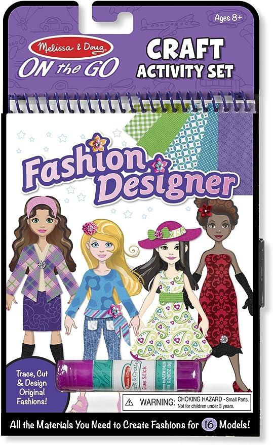 Amazon Com Melissa Doug On The Go Craft Activity Set Fashion Designer 8 Model Sheets Melissa Doug Toys Games