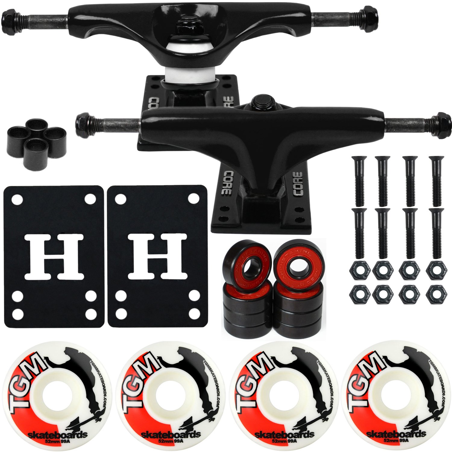 CORE Skateboard Package 5.0'' Trucks 52mm with White Wheels + Components (Black Hanger/Black Base) by CORE