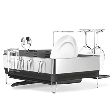 simplehuman Kitchen Steel Frame Dish Rack With Swivel Spout, Fingerprint-Proof Stainless Steel Frame, Grey Plastic