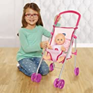 Chicco Flat Fold Stroller for Baby Dolls, Pink