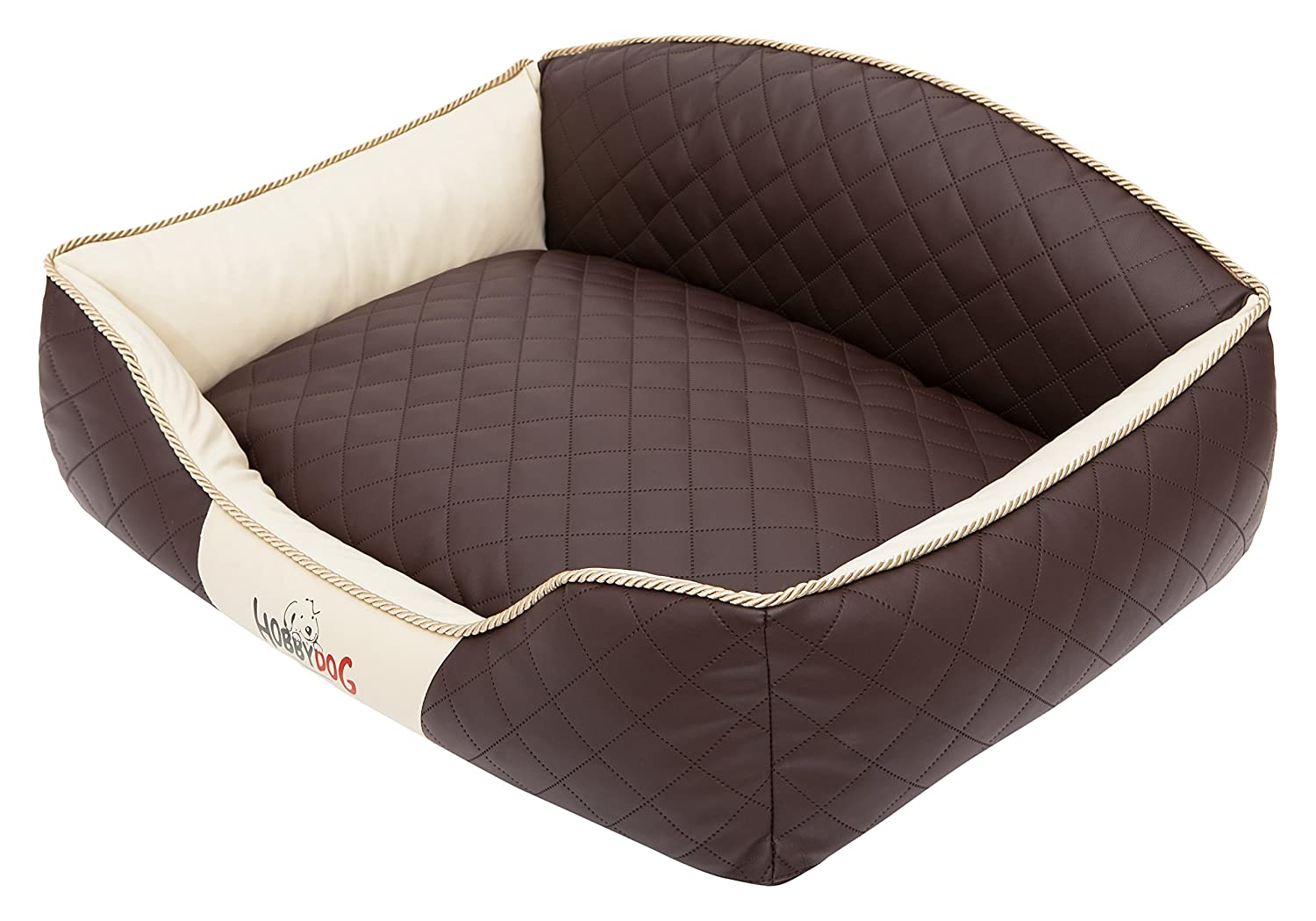 HOBBYDOG Elite Dog Bed, X-Large, Brown Beige Sides