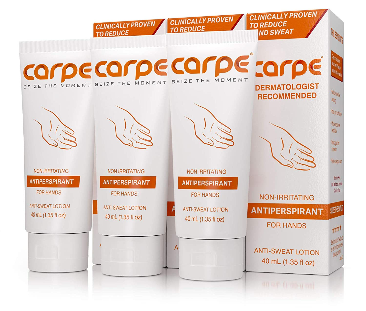 Carpe Antiperspirant Hand Lotion Package Deal (3 Hand Tubes - Save 22%), Stop Sweaty Hands, Dermatologist-Recommended