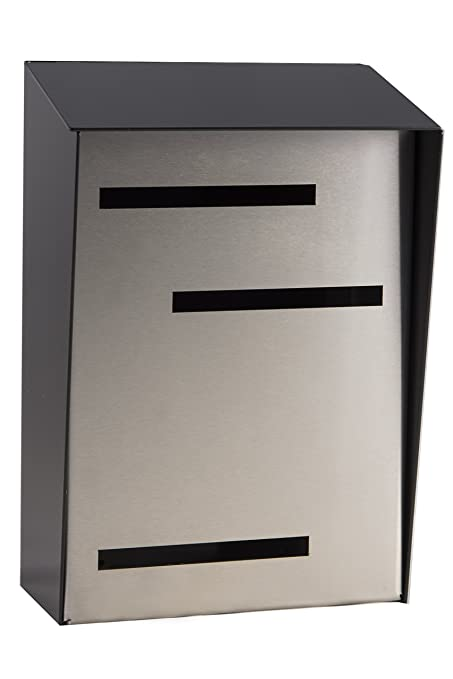 Modern Mailbox Mid Century Modern Mailbox Modern Wall Mounted Mailbox Two Tone Black Vertical Large Stainless