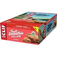CLIF Fruit Smoothie Filled - Organic Energy Bar - Strawberry Banana Flavor - (50 Gram Protein Snack Bar, 12 Count)