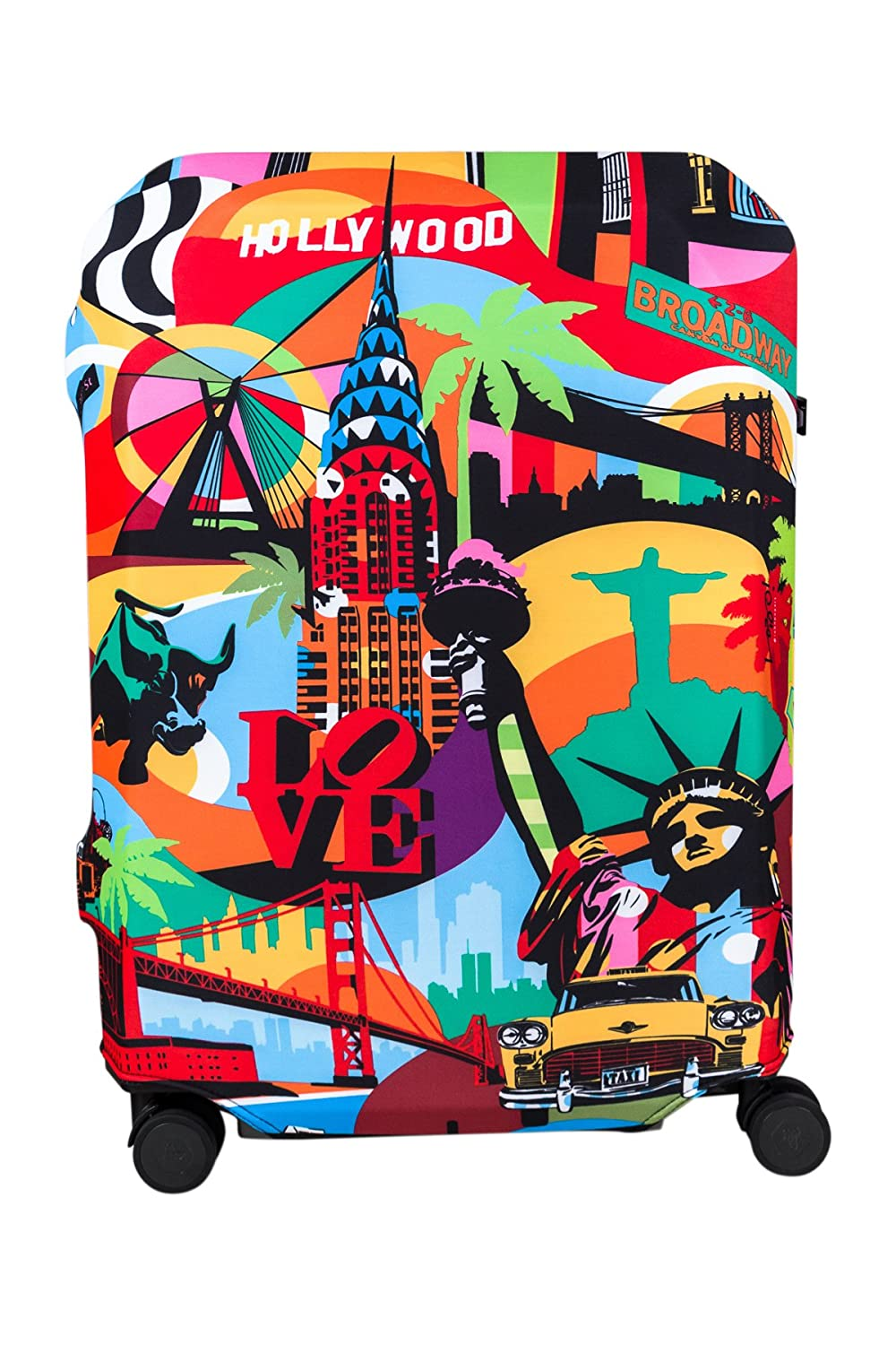 BG Berlin Stretchable Luggage Cover, Suitcase Hug, Water Resistant, Size Large, The American Way Print Fashion Imports BG2.2.136.L