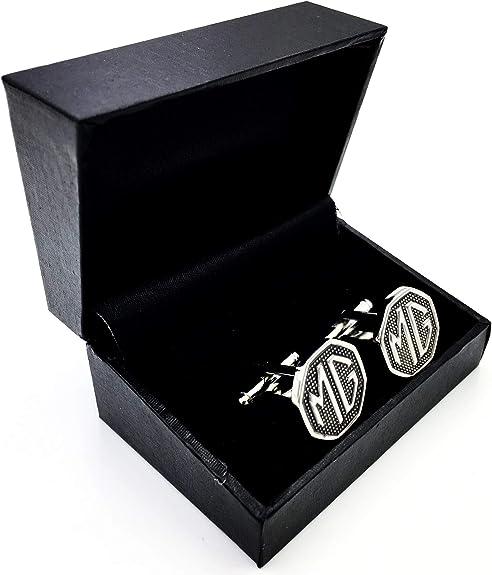 MG Motor Boutons de manchette pour homme avec logo octogonal argent/é avec coffret cadeau