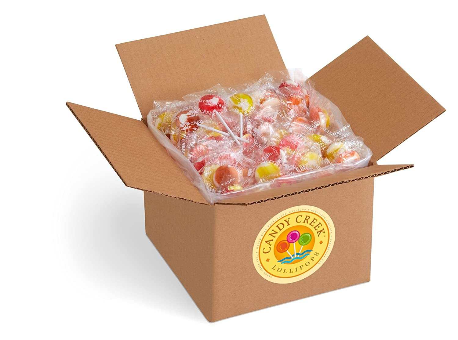 Soda Shop Lollipops by Candy Creek, Bulk 5 Pound Carton, Rootbeer Float, Cherry Vanilla, Strawberry Banana, Orange Creamsicle, and Pineapple Coconut