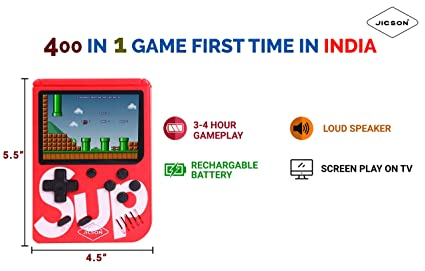 Jicson J76 400 in 1 Portable Retro Old Classic Game Colorful LCD Screen USB Rechargeable (Red)�