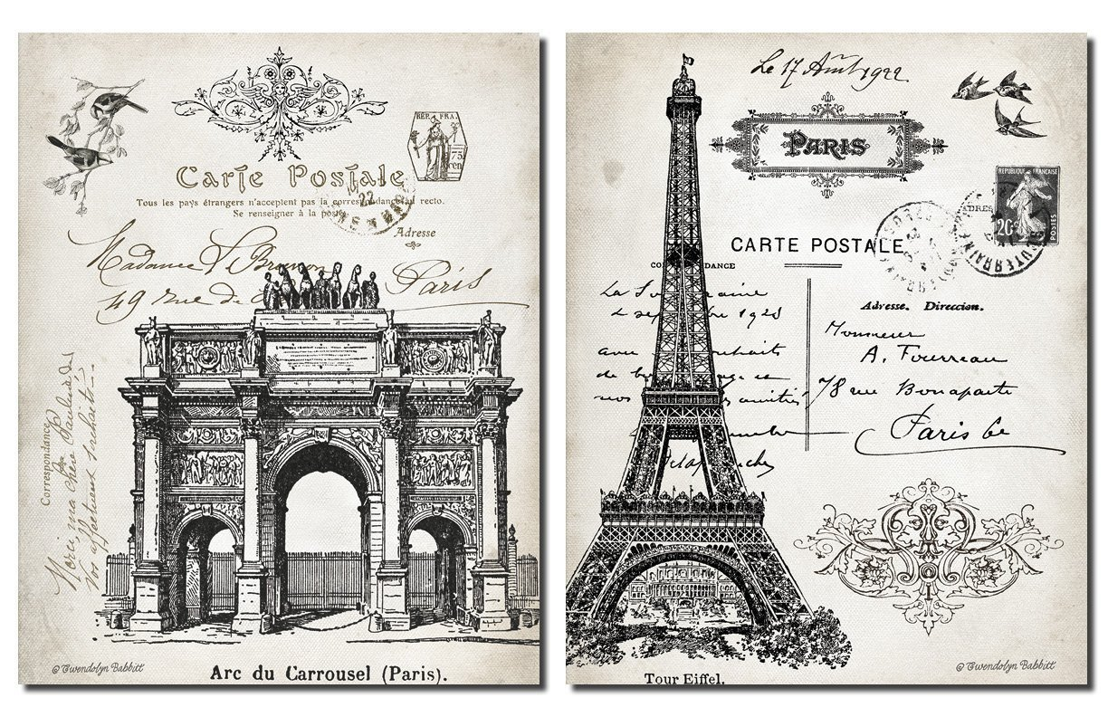 Amazon.com: Beautiful Vintage Paris France Landmarks, Arc De Triomphe Du  Carrousel And Eiffel Tower; Two 11 X 14 Prints: Posters U0026 Prints